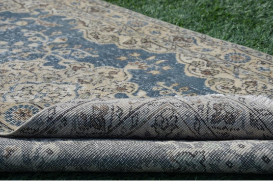 "Blue Oushak Turkish Rug For Home Decor 6'10,7"" X 3'10,1"""