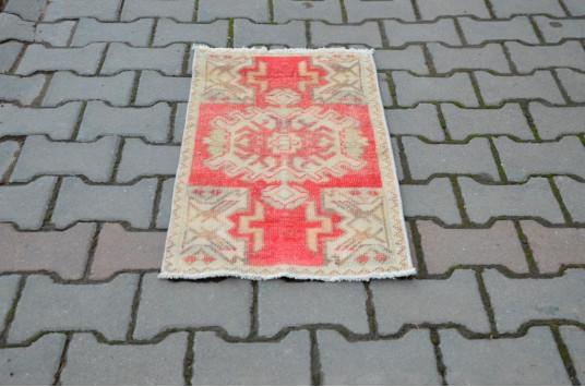 "Turkish Handmade Vintage Small Area Rug Doormat For Home Decor 2'7,9"" X 1'5,7"""