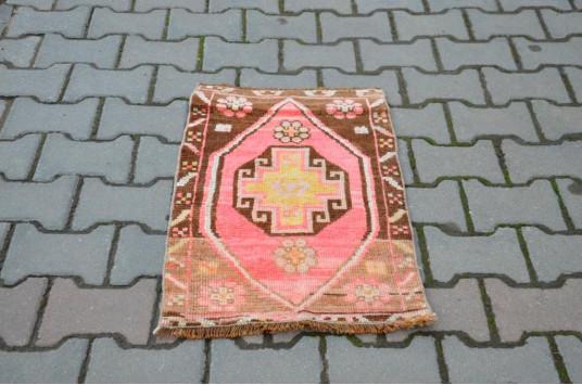 "Vintage Handmade Turkish Small Area Rug Doormat For Home Decor 2'4,7"" X 1'6,5"""