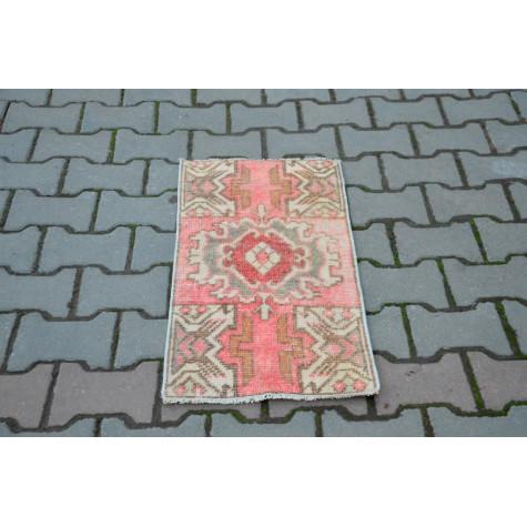 "Vintage Handmade Turkish Small Area Rug Doormat For Home Decor 2'7,5"" X 1'4,1"""