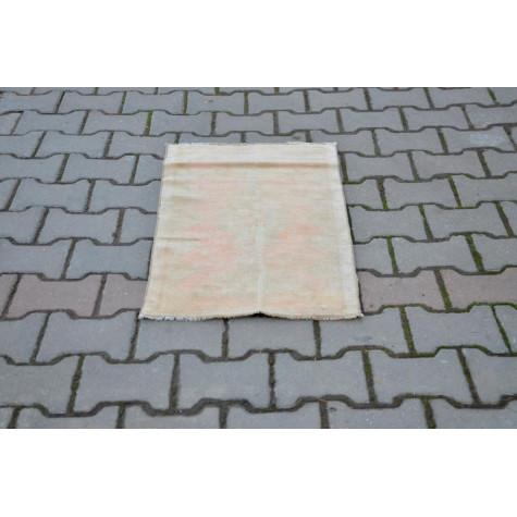 "Vintage Handmade Turkish Small Area Rug Doormat For Home Decor 2'7,1"" X 1'7,7"""