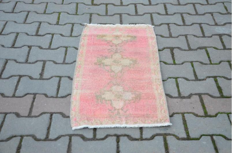 "Turkish Handmade Vintage Small Area Rug Doormat For Home Decor 2'11"" X 1'5,7"""