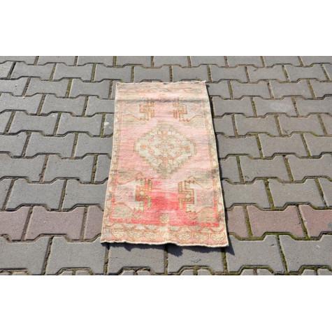 "Vintage Handmade Turkish Small Area Rug Doormat For Home Decor 3'3,4"" X 1'5,7"""