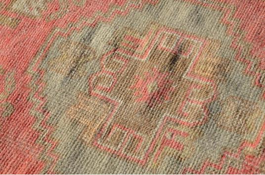 "Vintage Handmade Turkish Small Area Rug Doormat For Home Decor 3'1,8"" X 1'7,3"""