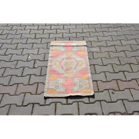 "Turkish Handmade Vintage Small Area Rug Doormat For Home Decor 3'6,5"" X 1'6,9"""