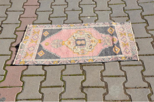 """Natural Turkish Vintage Small Area Rug Doormat For Home Decor 2'11,8"""" X 1'6,9"""""""
