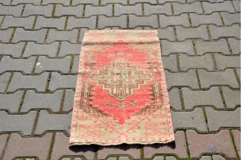 "Vintage Handmade Turkish Small Area Rug Doormat For Home Decor 2'10,6"" X 1'6,5"""