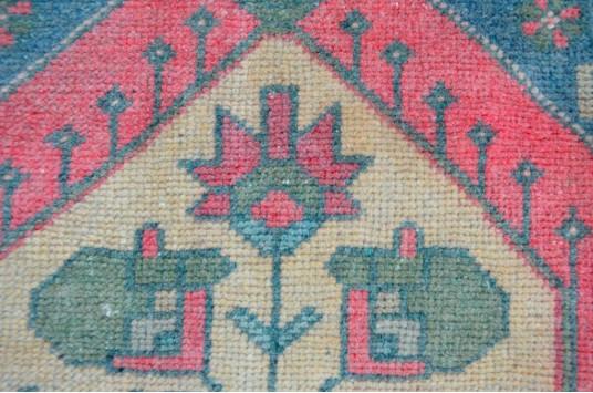 "Turkish Handmade Vintage Small Area Rug Doormat For Home Decor 4'0"" X 1'9,7"""