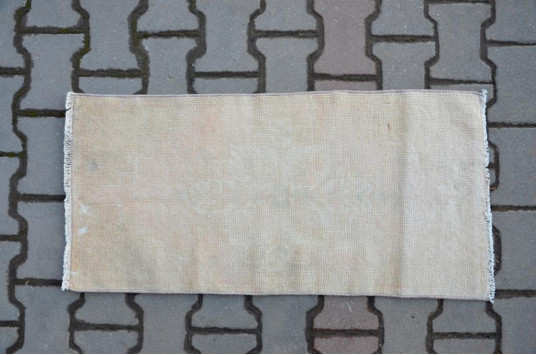 "Vintage Handmade Turkish Small Area Rug Doormat For Home Decor 3'2,6"" X 1'6,9"""