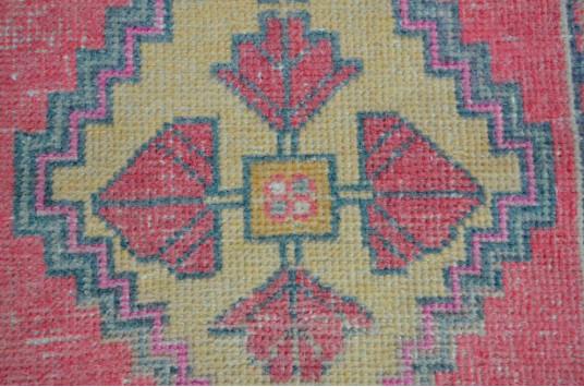 "Vintage Handmade Turkish Small Area Rug Doormat For Home Decor 2'11,8"" X 1'7,7"""