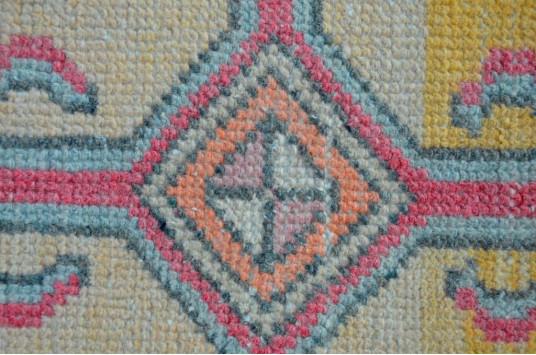 "Unique Turkish Vintage Small Area Rug Doormat For Home Decor 3'1,4"" X 1'6,5"""
