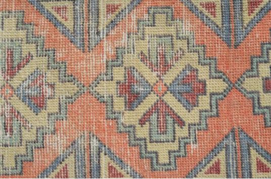 "Vintage Handmade Turkish Small Area Rug Doormat For Home Decor 3'0,2"" X 1'5,3"""