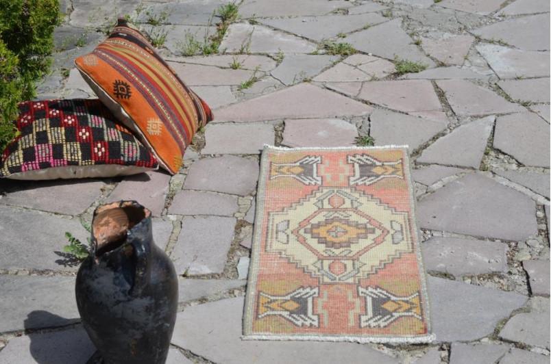"Handmade Turkish Vintage Small Area Rug Doormat For Home Decor 3'0,6"" X 1'3,7"""