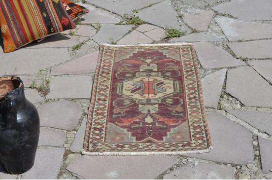 "Turkish Handmade Vintage Small Area Rug Doormat For Home Decor 3'1,4"" X 1'7,3"""
