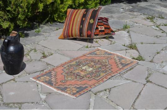 "Vintage Handmade Turkish Small Area Rug Doormat For Home Decor 2'10,6"" X 1'6,9"""