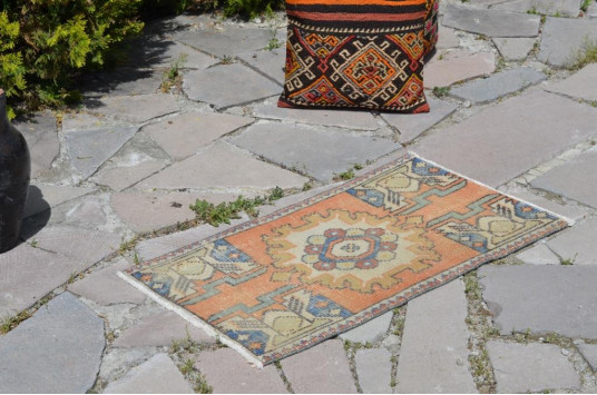 """Natural Turkish Vintage Small Area Rug Doormat For Home Decor 2'9,9"""" X 1'6,9"""""""