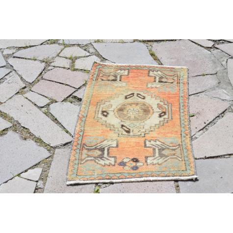 "Turkish Handmade Vintage Small Area Rug Doormat For Home Decor 2'11,4"" X 1'8,1"""