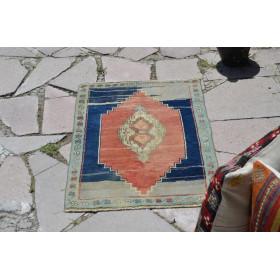 "Vintage Handmade Turkish Small Area Rug Doormat For Home Decor 2'8,7"" X 1'9,7"""