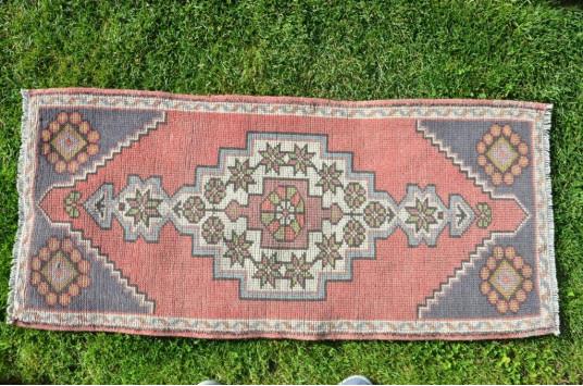 "Turkish Handmade Vintage Small Area Rug Doormat For Home Decor 3'10,5"" X 1'9,3"""