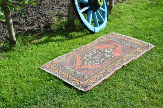 "Unique Turkish Vintage Small Area Rug Doormat For Home Decor 3'6,5"" X 1'10,8"""