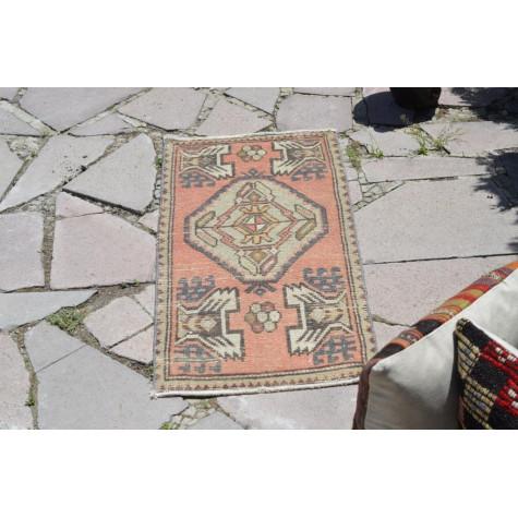 "Handmade Turkish Vintage Small Area Rug Doormat For Home Decor 3'1"" X 1'5,3"""