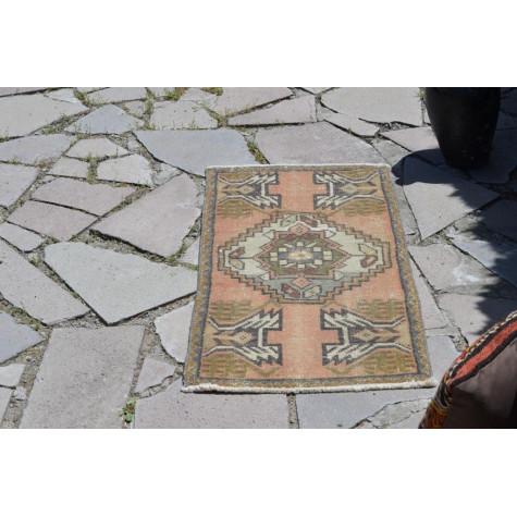 "Handmade Turkish Vintage Small Area Rug Doormat For Home Decor 3'1"" X 1'7,3"""