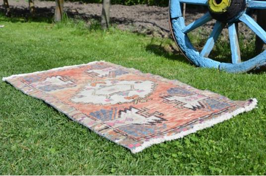 "Turkish Handmade Vintage Small Area Rug Doormat For Home Decor 3'3,4"" X 1'8,9"""