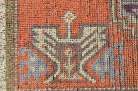 """Natural Turkish Vintage Small Area Rug Doormat For Home Decor 3'1,8"""" X 1'7,7"""""""