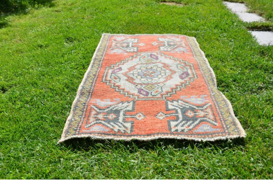 """Hand Knotted Turkish Vintage Small Area Rug Doormat For Home Decor 3'1"""" X 1'6,9"""""""