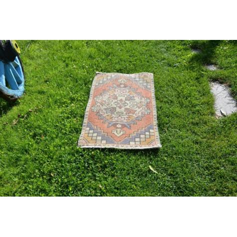 "Turkish Handmade Vintage Small Area Rug Doormat For Home Decor 2'11"" X 1'6,9"""