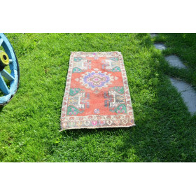"Unique Turkish Vintage Small Area Rug Doormat For Home Decor 3'7,3"" X 1'10"""