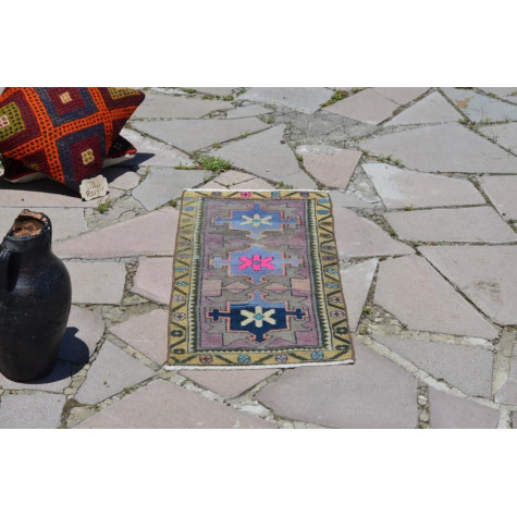 "Unique Turkish Vintage Small Area Rug Doormat For Home Decor 3'0,2"" X 1'4,5"""