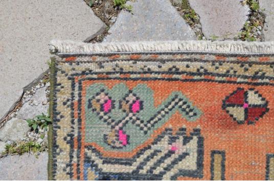 "Vintage Handmade Turkish Small Area Rug Doormat For Home Decor 3'3,4"" X 1'6,1"""