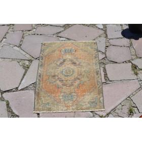 "Turkish Handmade Vintage Small Area Rug Doormat For Home Decor 2'8,7"" X 1'6,1"""