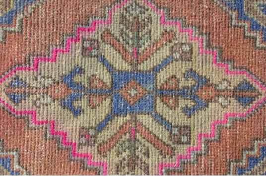 "Unique Turkish Vintage Small Area Rug Doormat For Home Decor 2'9,9"" X 1'6,5"""