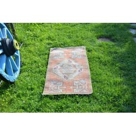 "Vintage Handmade Turkish Small Area Rug Doormat For Home Decor 3'3,4"" X 1'7,3"""