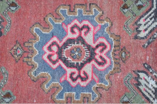 "Vintage Handmade Turkish Small Area Rug Doormat For Home Decor 3'6,1"" X 1'8,5"""