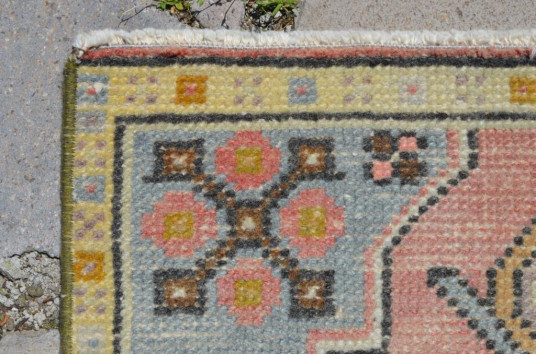 """Natural Turkish Vintage Small Area Rug Doormat For Home Decor 2'11,8"""" X 1'6,5"""""""