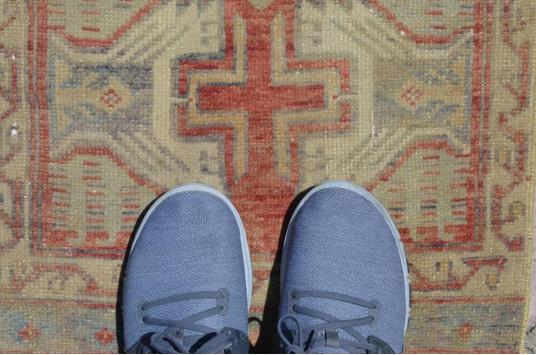 "Vintage Handmade Turkish Small Area Rug Doormat For Home Decor 3'6,5"" X 1'7,3"""