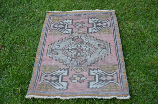 """Vintage Turkish Small Area Rug Doormat For Home Decor 3'3"""" X 1'8,1"""""""