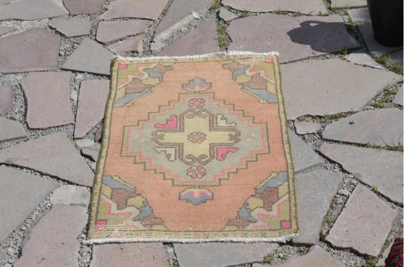 "Handmade Turkish Vintage Small Area Rug Doormat For Home Decor 3'0,6"" X 1'7,7"""