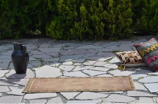 "Unique Turkish Vintage Small Area Rug Doormat For Home Decor 3'6,1"" X 1'5,3"""