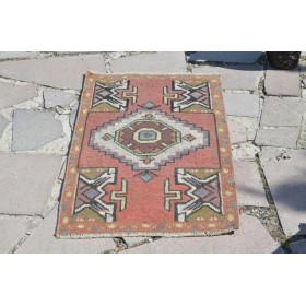 "Vintage Handmade Turkish Small Area Rug Doormat For Home Decor 3'0,6"" X 1'8,5"""