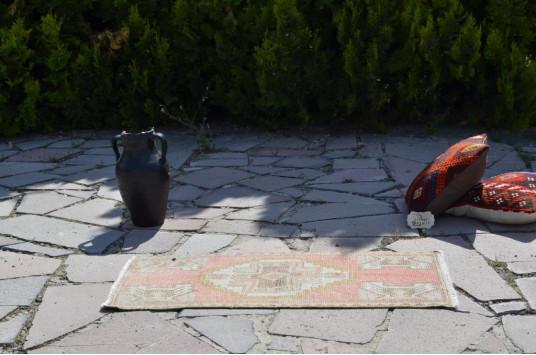 "Turkish Handmade Vintage Small Area Rug Doormat For Home Decor 3'3,4"" X 1'9,7"""