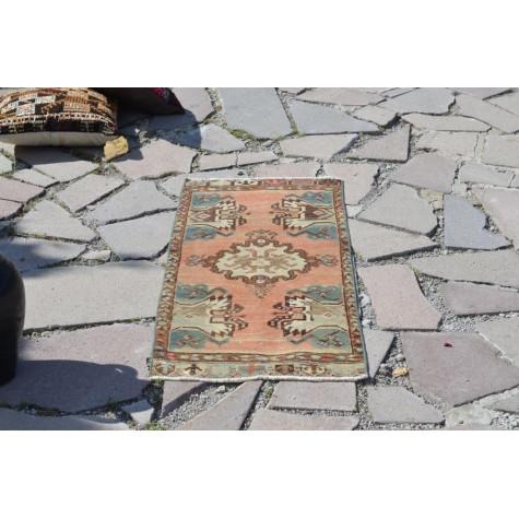 "Unique Turkish Vintage Small Area Rug Doormat For Home Decor 3'3,8"" X 1'5,7"""