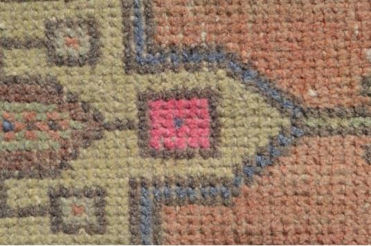 "Turkish Handmade Vintage Small Area Rug Doormat For Home Decor 3'7,7"" X 1'8,5"""