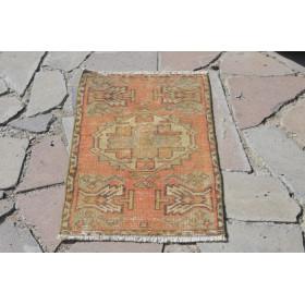 "Vintage Handmade Turkish Small Area Rug Doormat For Home Decor 2'9,1"" X 1'5,7"""