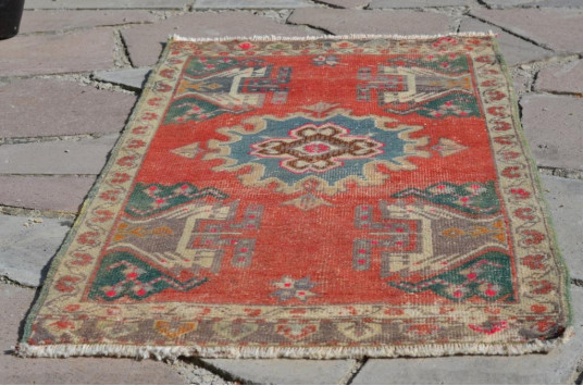 "Unique Turkish Vintage Small Area Rug Doormat For Home Decor 3'6,1"" X 1'11,2"""