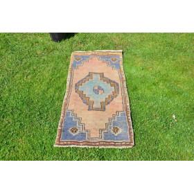 "Unique Turkish Vintage Small Area Rug Doormat For Home Decor 3'8,1"" X 1'5,7"""