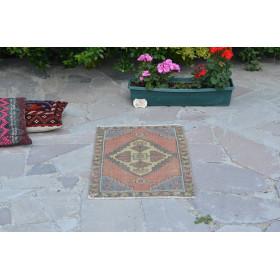 "Vintage Handmade Turkish Small Area Rug Doormat For Home Decor 3'2,2"" X 1'8,9"""